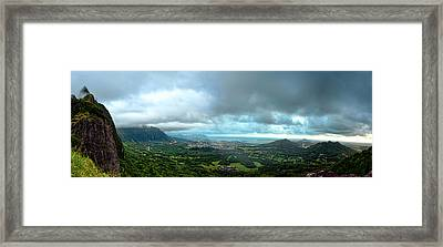 Framed Print featuring the photograph Pali Lookout Dawn by Dan McManus