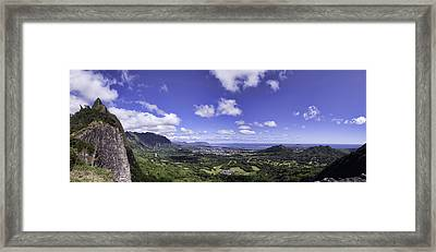 Pali Lookout Panorama Framed Print