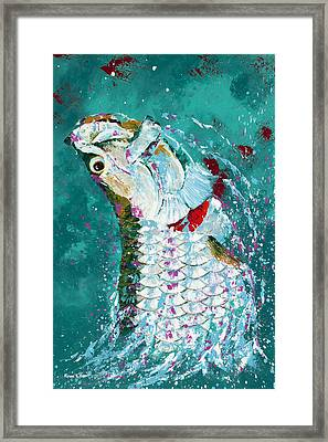 Pallet Knife Jumping Tarpon Framed Print by Kevin Brant
