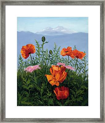 Pallet Knife Poppies Framed Print by Mary Giacomini