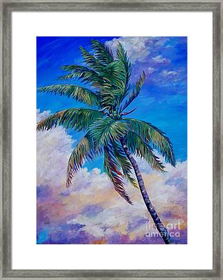 Palm And Clouds Framed Print