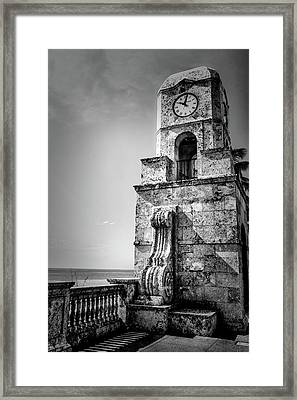 Palm Beach Clock Tower In Black And White Framed Print