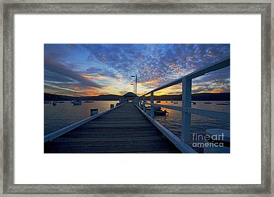palm beach wharf at dusk framed print by avalon fine art photography