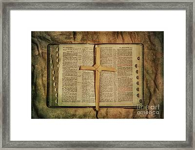 Palm Branch Cross And Bible Framed Print
