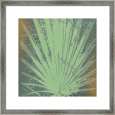 Palm Frond Green Gold Framed Print