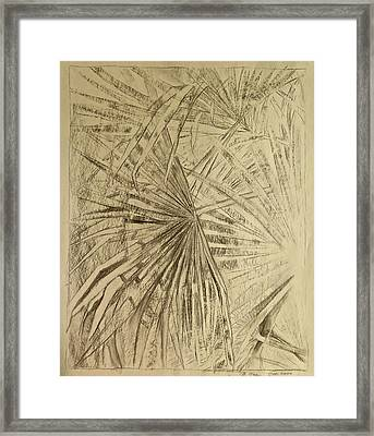Palm Fronds In Charcoal Framed Print