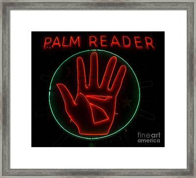 Palm Reader Neon Sign Framed Print