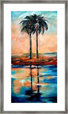 Framed Print featuring the painting Palm Reflection 4 by Linda Olsen