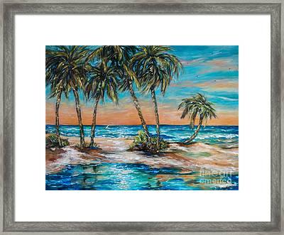 Palm Reflection Lagoon Framed Print