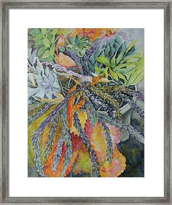 Framed Print featuring the painting Palm Springs Cacti Garden by Joanne Smoley