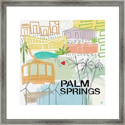 Palm Springs Cityscape- Art By Linda Woods Framed Print