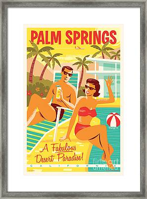 Palm Springs Retro Travel Poster Framed Print by Jim Zahniser