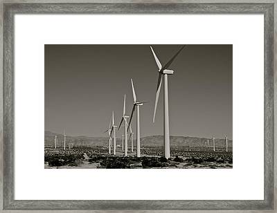 Palm Springs Windmills I In B And W Framed Print