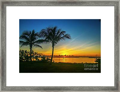 Palm Tree And Boat Sunrise Framed Print