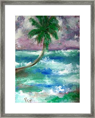 Palm Tree And The Sea Framed Print by Patricia Taylor
