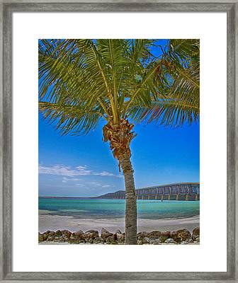 Framed Print featuring the photograph Palm Tree Bridge And Sand by Paula Porterfield-Izzo