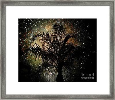 Palm Tree Fireworks Framed Print by David Lee Thompson