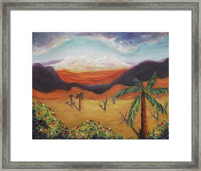 Palm Tree In Desert Framed Print by Suzanne  Marie Leclair