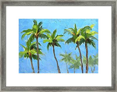 Framed Print featuring the painting Palm Tree Plein Air Painting by Karen Whitworth
