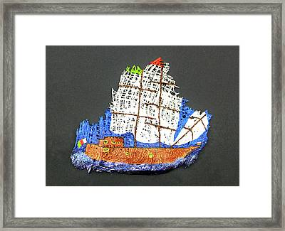 Palm  Tree  Sailing  Vessel Framed Print