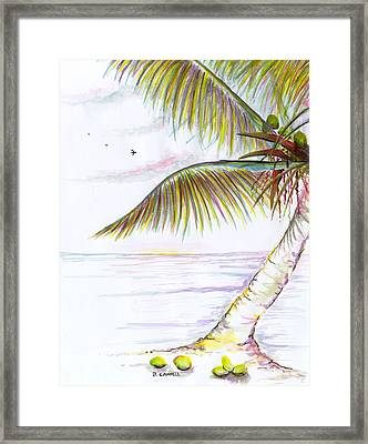Framed Print featuring the digital art Palm Tree Study Three by Darren Cannell