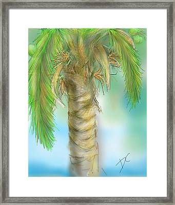Framed Print featuring the digital art Palm Tree Study Two by Darren Cannell