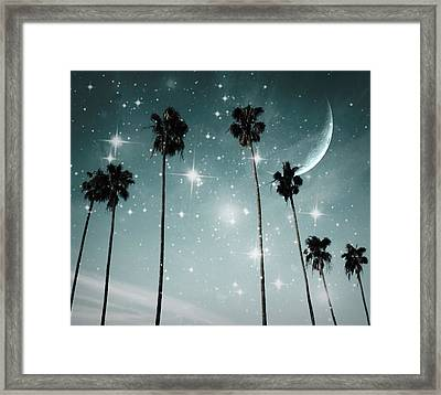 Palm Trees .... Starry Night Framed Print by Marianna Mills