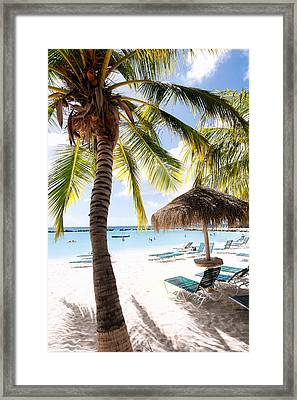 Palm Trees And Palapa Framed Print by George Oze