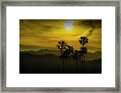 Framed Print featuring the photograph Palm Trees At Sunset With Mountains In California by Randall Nyhof