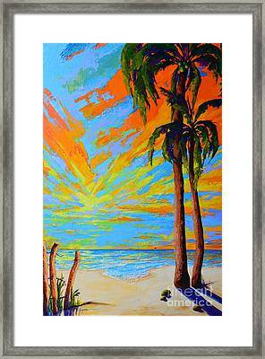 Florida Palm Trees, Tropical Beach, Colorful Sunset Painting Framed Print by Patricia Awapara