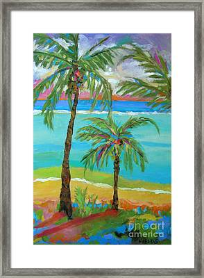 Palm Trees In Landscape Framed Print by Karen Fields