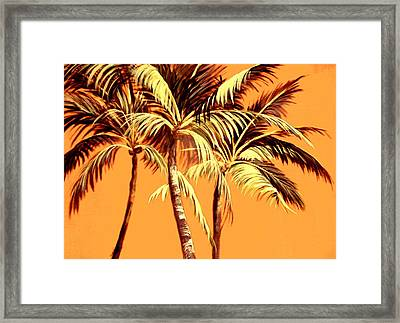 Palm Trees In Sepia Framed Print