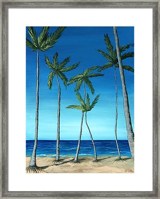 Framed Print featuring the painting Palm Trees On Blue by Anastasiya Malakhova