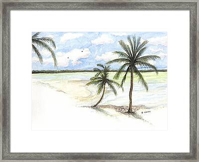 Framed Print featuring the painting Palm Trees On The Beach by Darren Cannell