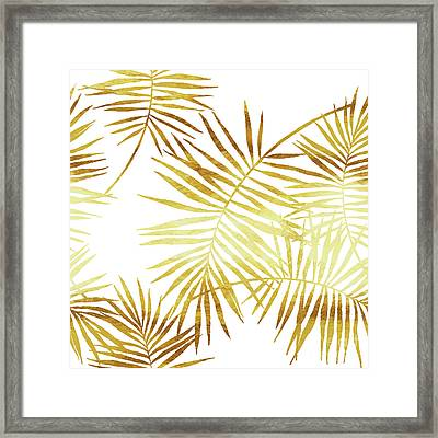 Palmes Dor Golden Palm Fronds And Leaves Framed Print by Tina Lavoie