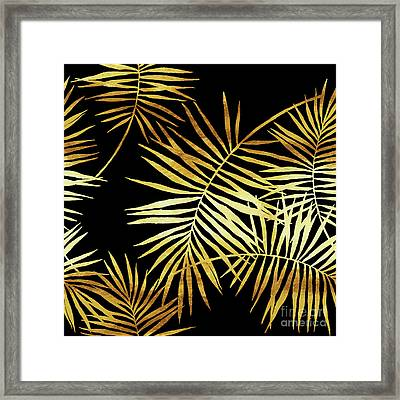 Palmes Dor Noir Golden Palm Fronds And Leaves Framed Print by Tina Lavoie