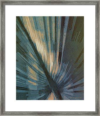 Palmetto Embrace-blue Gold Framed Print
