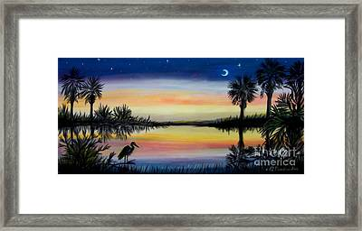 Palmetto Tree And Moon Low Country Sunset Framed Print