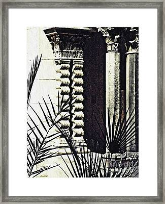 Palms And Columns Framed Print by Sarah Loft