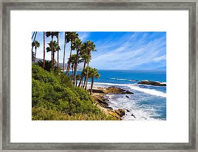 Palms And Seashore California Coast Framed Print by Utah Images