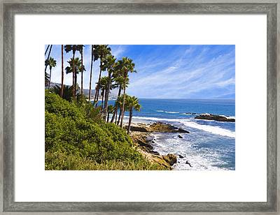 Palms And Seashore Laguna Beach California Coast Framed Print by Utah Images