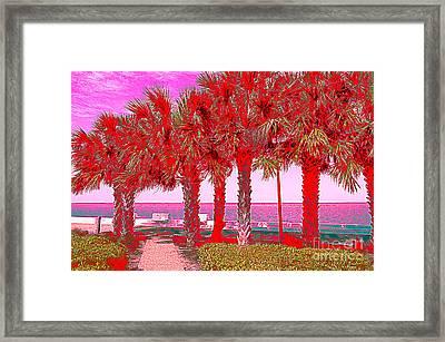 Palms In Red Framed Print