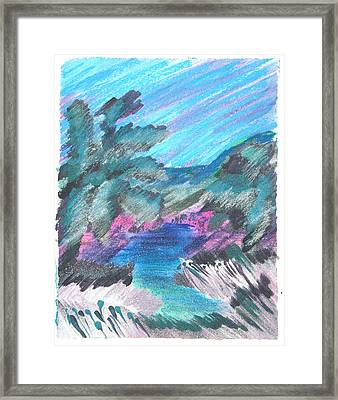 Palms In Silver Grass Framed Print by Judy Loper
