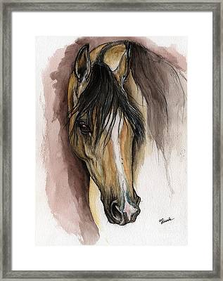 Palomino Arabian Horse Watercolor Portrait Framed Print by Angel  Tarantella