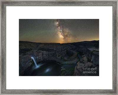 Palouse Falls Milky Way Galaxy  Framed Print