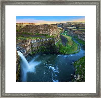 Palouse Falls Pool Framed Print by Inge Johnsson