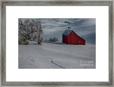 Palouse Saltbox Barn Winter Framed Print