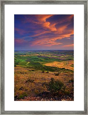 Palouse Skies Ablaze Framed Print by Mike  Dawson