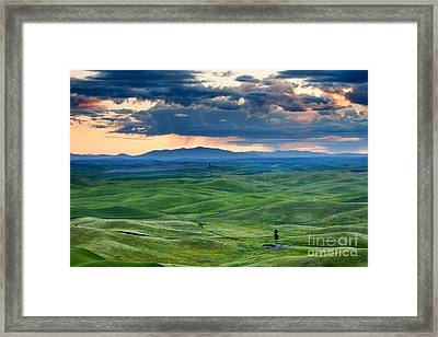 Palouse Storm Framed Print by Mike  Dawson