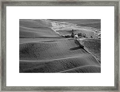 Palouse - Washington - Farms - 6 - Bw Framed Print